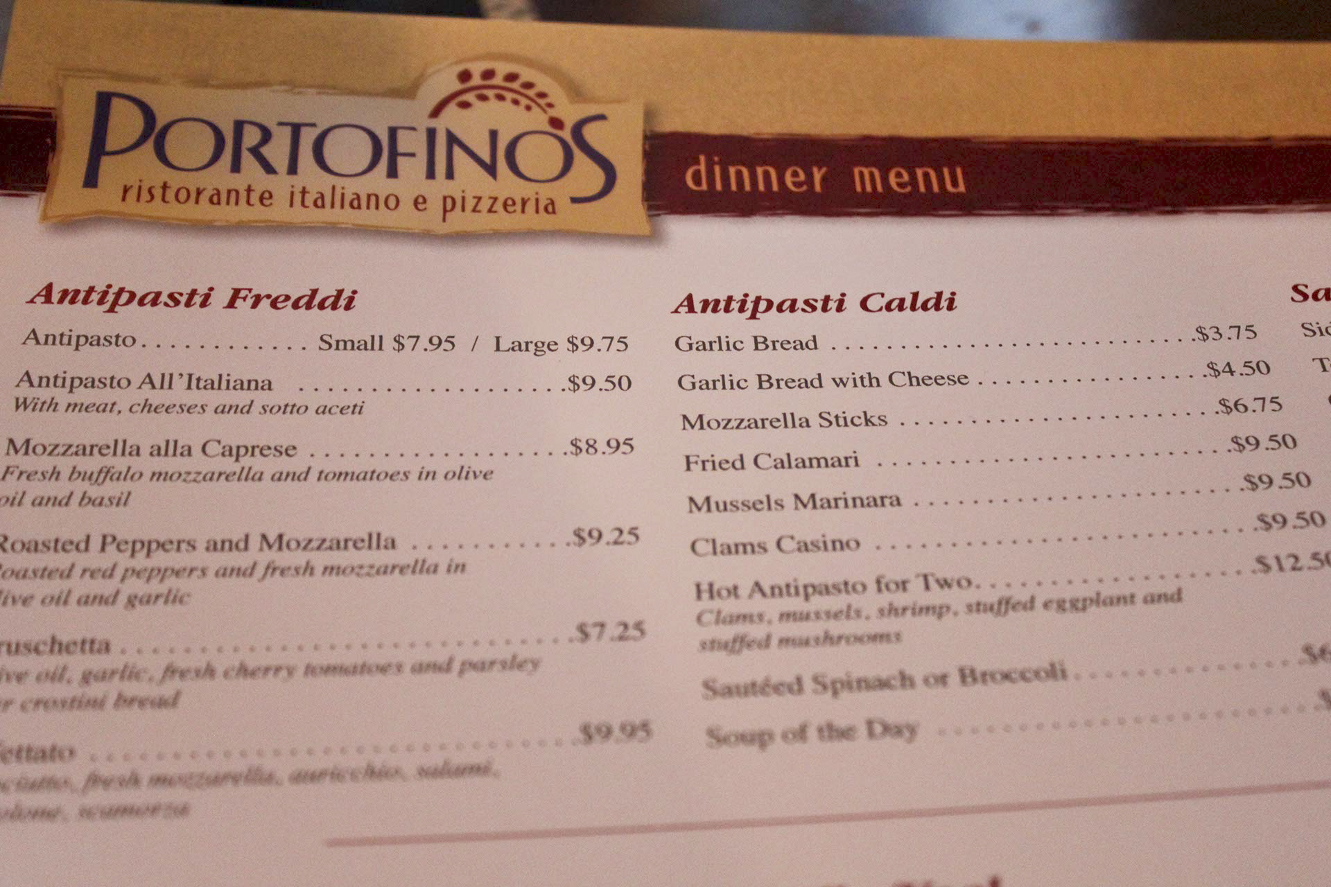 Portofino Restaurants Menu