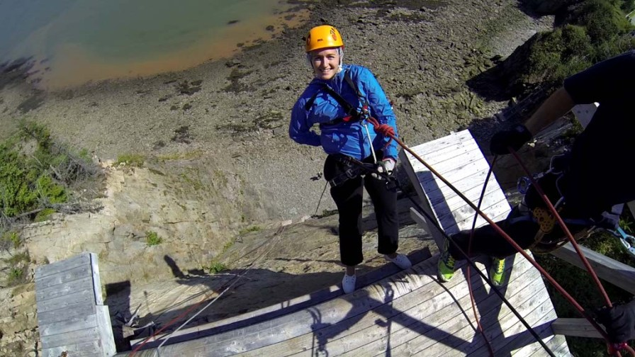 Rappelling at Cape Enrage