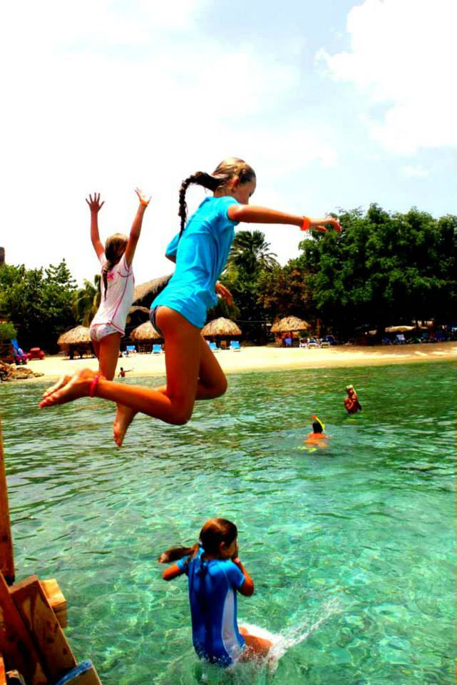 Children Jumping in Curacao