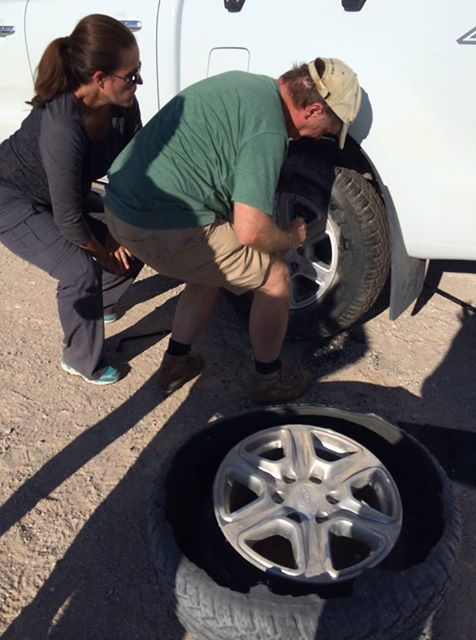 Changing a Flat in Namibia