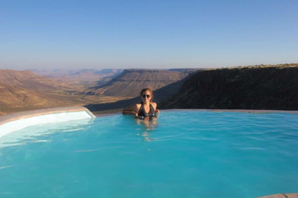 Pool view at Grootberg Lodge, Namibia