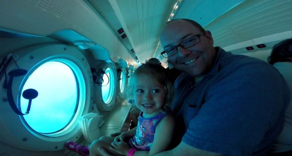 Athena and Daddy on Atlantis Submarine