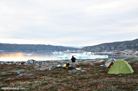 Arctic wilderness. Setting up camp for the night.