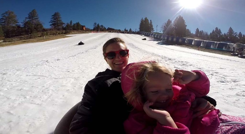 Sledding with Athena at Magic Mountain