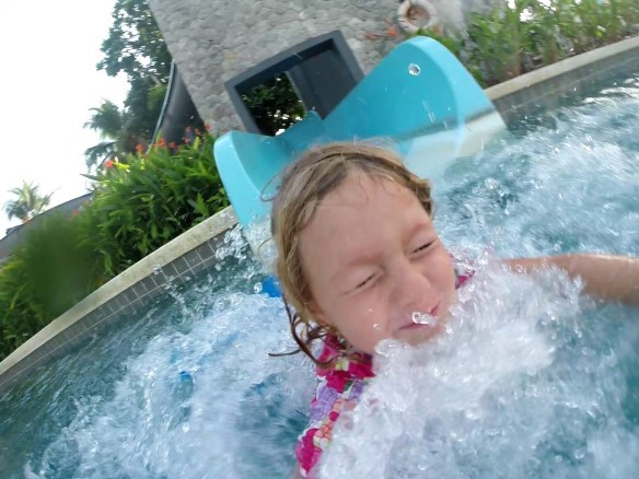 Face first on the water slide at Outrigger Laguna Phuket