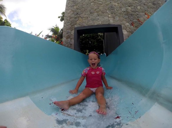 Athena on the water slide at Outrigger Laguna Phuket Resort