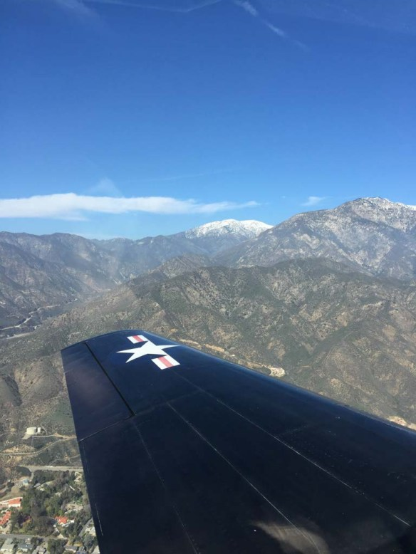 The view from a T6 Warbird over Mt. Baldy, California