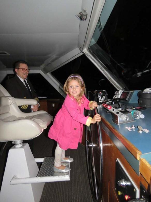 Athena at the helm on Hornblower Dinner Cruises, Newport Beach