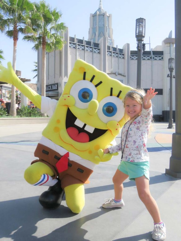 Athena and Sponge Bob at Universal Studios Hollywood, California