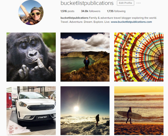 Instagram Account for Bucket List Publications